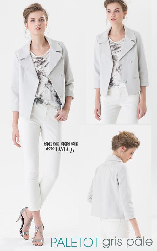 Veste style paletot gris pâle mi-saison