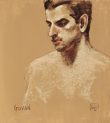 Govan, charcoal and chalk pastel study by Shannon Reynolds