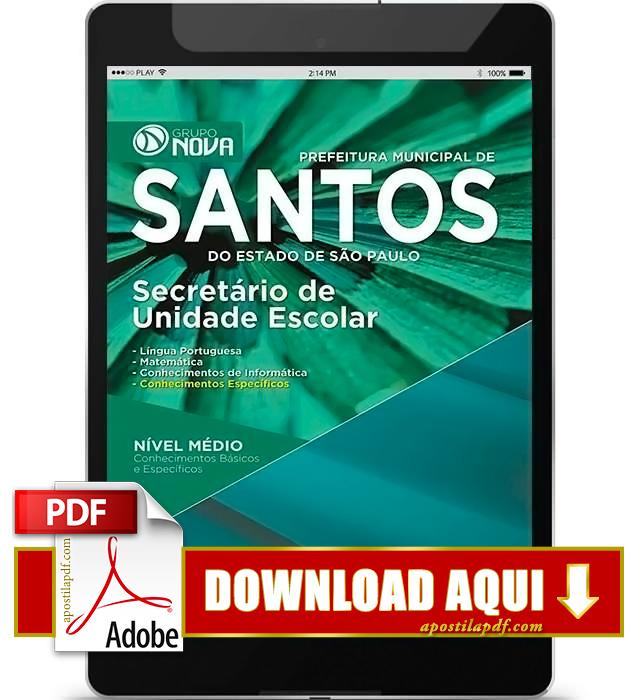 Apostila Prefeitura de Santos Secretário de Unidade Escolar PDF Download 2016