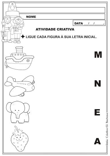 Atividade Letra Inicial Educação Infantil