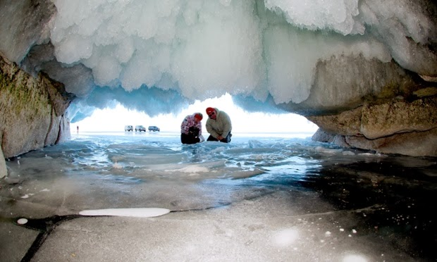 Cave of ice in Lake Baikal in Siberia