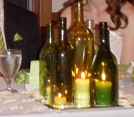 Silver current designs wine bottle centerpieces Wine bottle wedding centerpieces