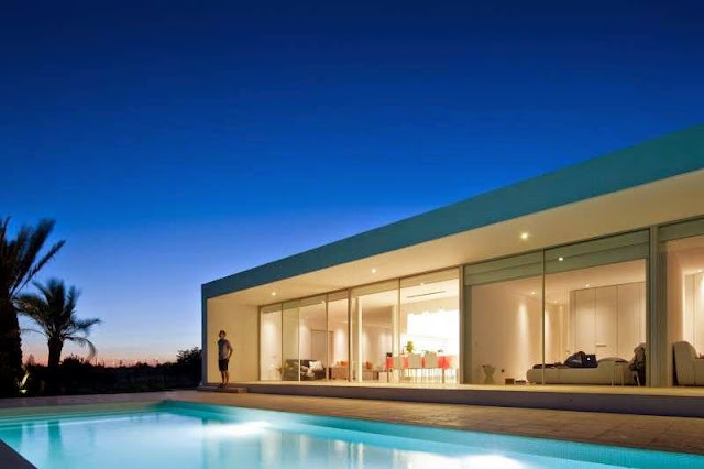 lighting Modern House with Pool in Tavira