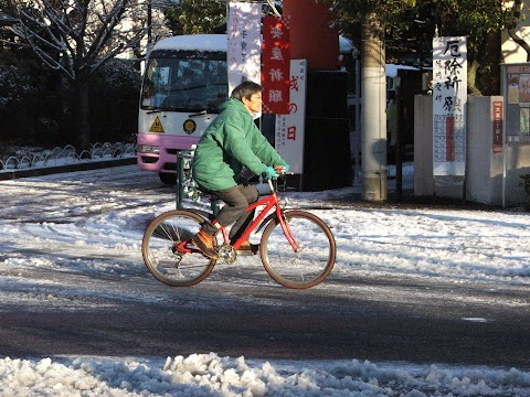 Cyclists on a snowy morning in Tokyo