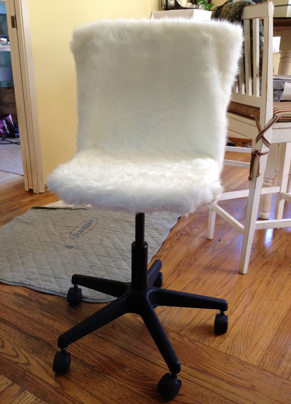 IKEA Chair With Fur Slipcover