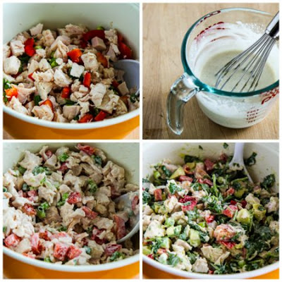 Rotisserie Chicken Christmas Salad with Avocado, Red Pepper, and Lime (Low-Carb, Gluten-Free) found on KalynsKitchen.com