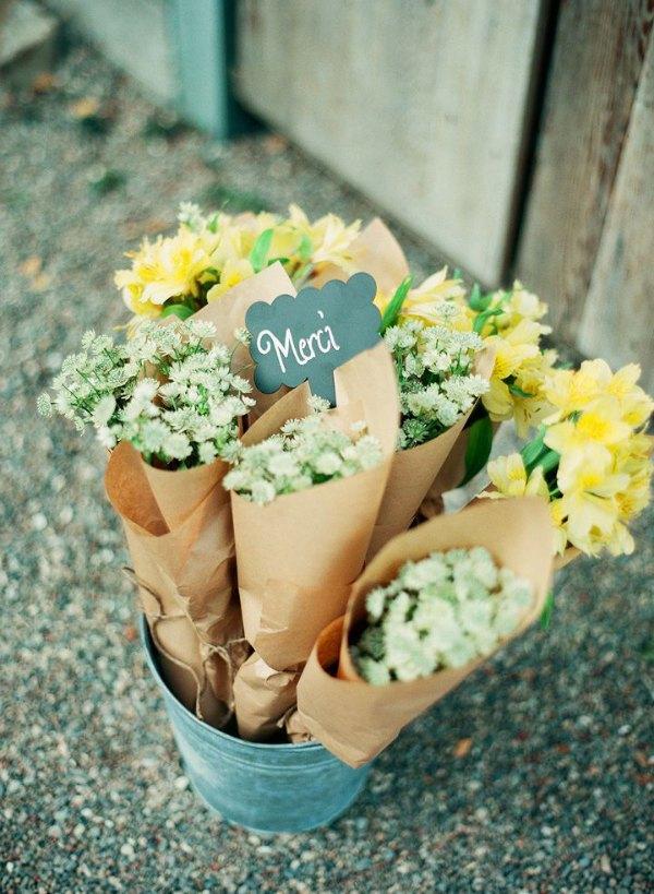 flowers in paper bags
