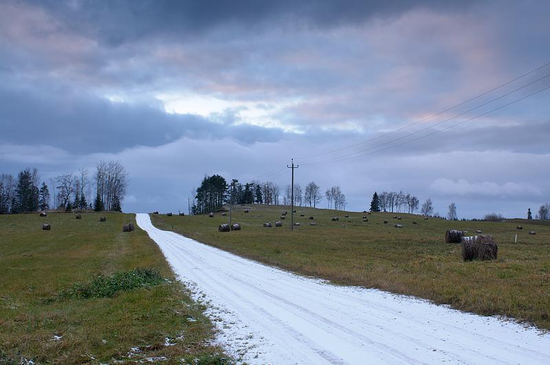 esimese lume tulek Haanjas, first snow comes in Haanja