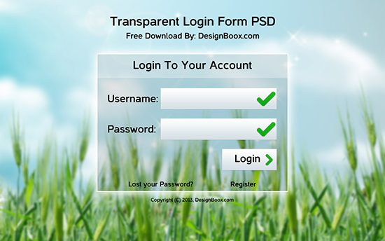 Free Download Transparent Login Form PSD ~ PSD Daily