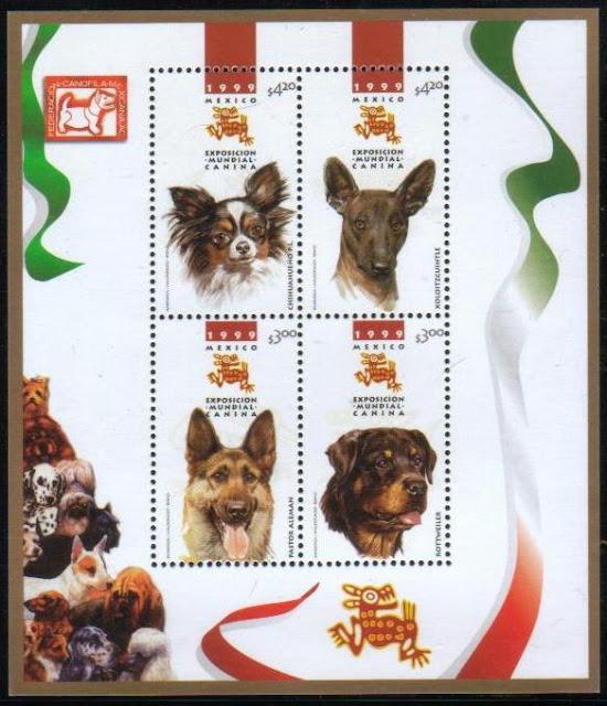 1999年メキシコ合衆国 チワワ ショロイツクインツレ ジャーマン・シェパード ロットワイラーの切手シート