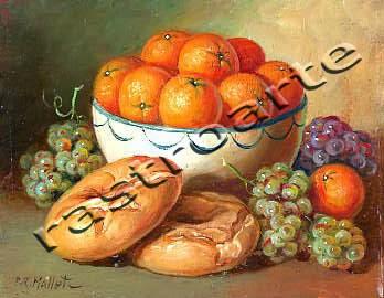Bodegón con bol de cerámica decorada, naranjas, uvas y una rosca de pan
