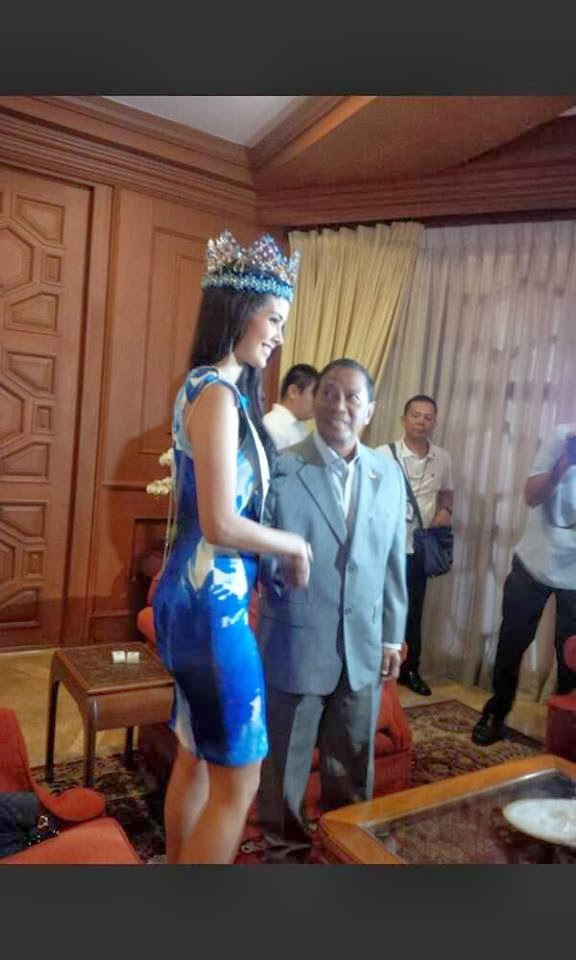 Miss World 2013 Megan Young and Vice President Jejomar Binay