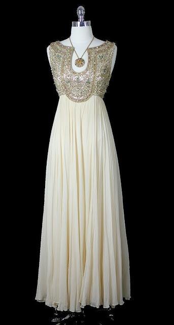 OFF White Color Silk Chiffon Beaded Dress