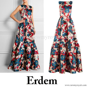 Kate Middleton wore ERDEM Alouette printed silk-gazar gown