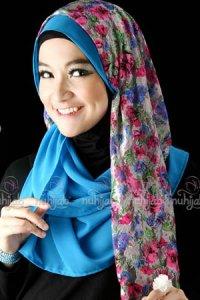 Nuhijab SSB Flower - Grey Blue (Toko Jilbab dan Busana Muslimah Terbaru)