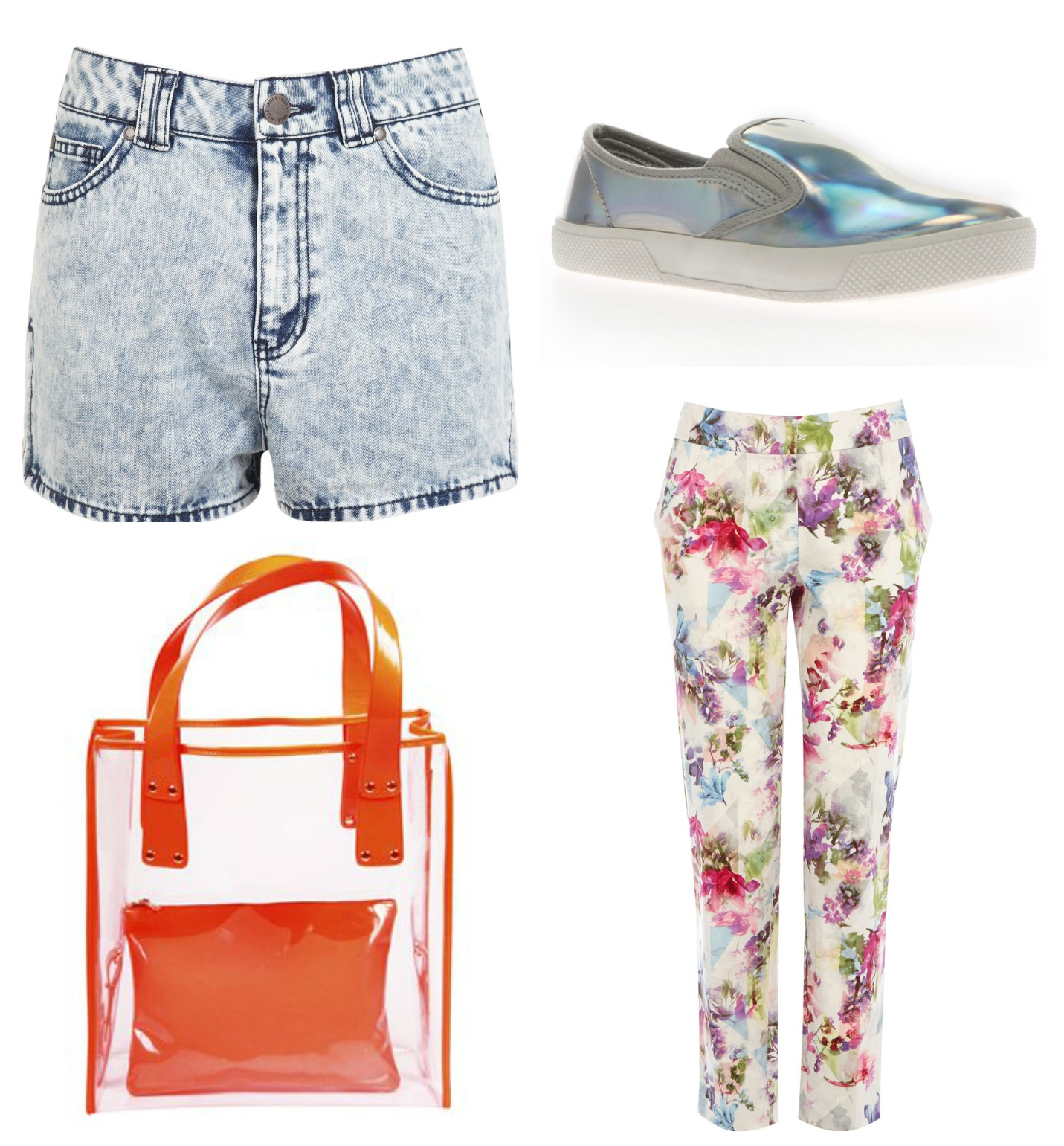 The Summer edit: acid wash shorts miss selfridge holographic slip on shoes public desire floral print trousers warehouse transparent neon orange tote bag pret a portobello