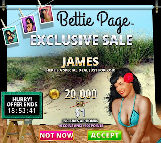 Special offer for Hit It Rich Bettie Page game players