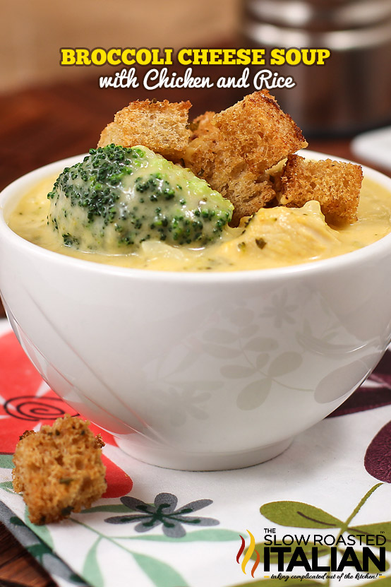 Broccoli Cheese Soup with Chicken and Rice