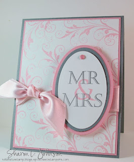 Invitación rosa y gris para boda