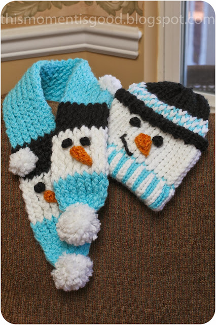 Loom Knitting Scarf Patterns : Loom knit snowman scarf knitting by this moment is