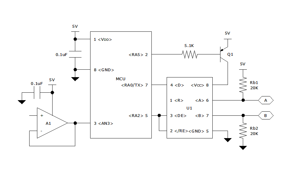 On the drawing board using rs 485 transceivers in the above circuit the non inverting input of the unity gain buffer is connected to a sensor circuit with an analog output the mcus adc converts the publicscrutiny Images