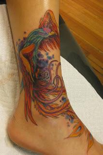 phoenix tattoo on ankle