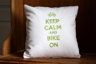 Belinda Lee Designs donates Keep Calm and Bike On Pillow to help Carl's Crusaders Bike Team Raise Funds to Support Smilelow Cancer Hospital in CT