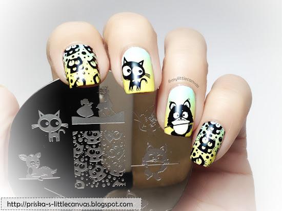 Crazy Cat Nails by @mylittlecanvas