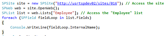 Enumerate through all fields in a SharePoint 2010 list using C#