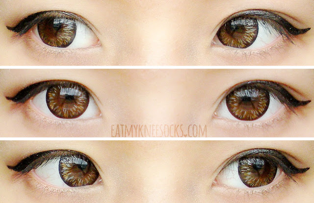 Different views of the Maxlook Pinky Brown circle lenses from Klenspop, worn with ulzzang-inspired makeup on dark brown eyes.