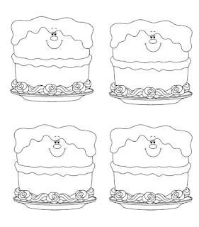 Grade ONEderful: 4 black and white clipart cakes