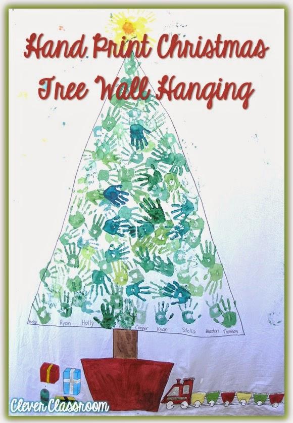 Christmas group Hand Print tree on calico material