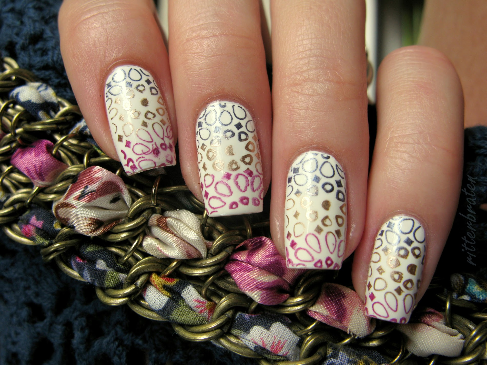 multicolour stamping nails konad