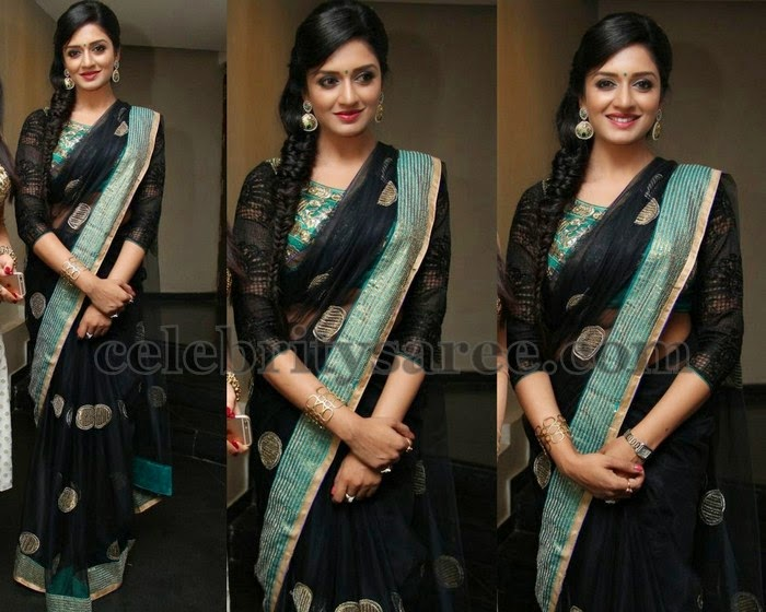 Vimala Raman Black Net Saree