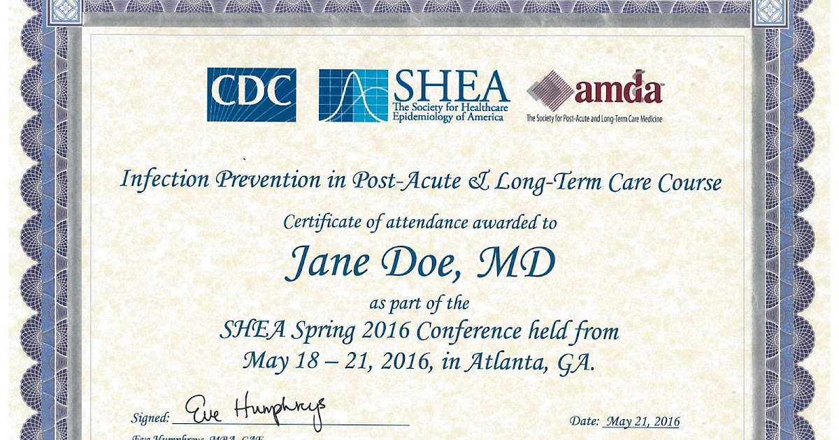 SHEA/CDC/AMDA Sponsored Post-Acute and Long-Term Care Certificate ...