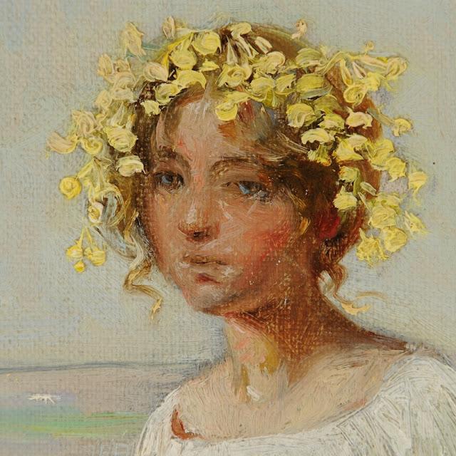 Udsnit fra Harald Slott-Møller: Ung pige med blomster i håret siddende på et gærde