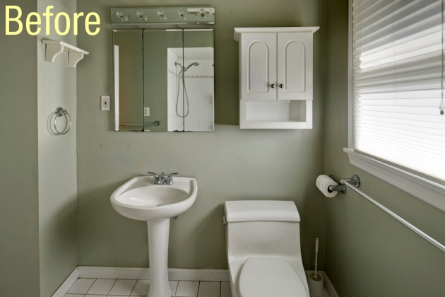 The bath showcase before and after zinka s diy bath remodel for Simple bathroom renovations