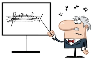 caricature of teacher pointing out music notation