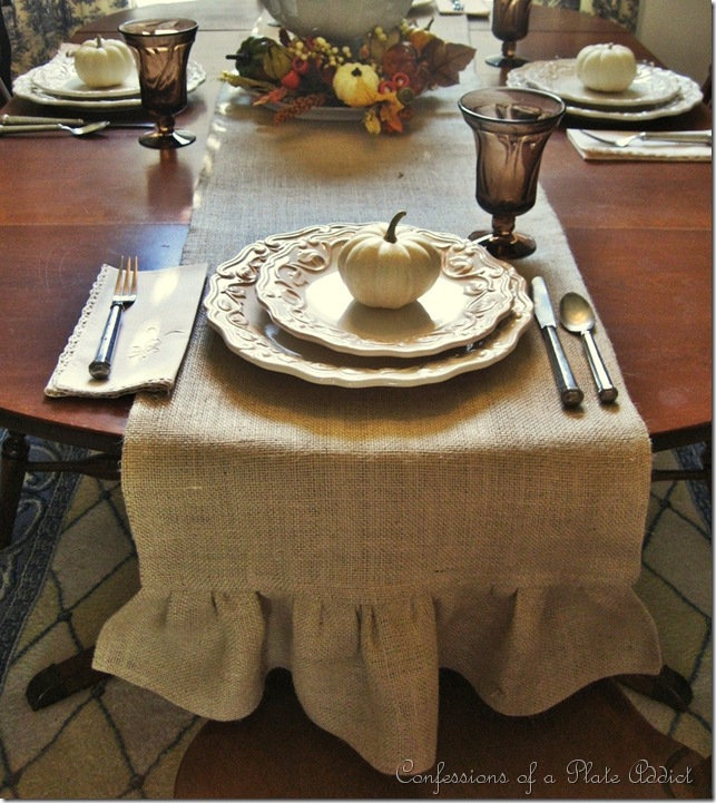 Angelyn S Rambelyns Ruffled Burlap Table Runner
