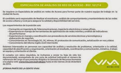 Viva requiere incorporar a un Especialista de Análisis de Red de Acceso