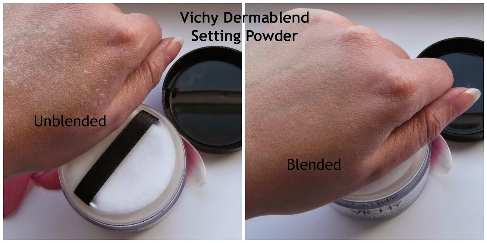 setting powder before and after. vichy dermablend setting powder review before and after