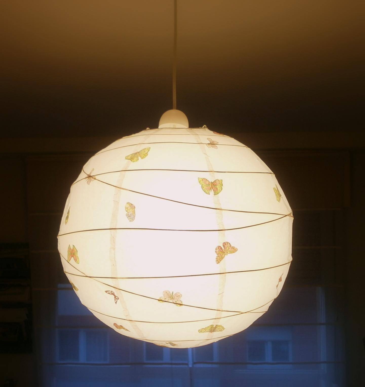 Telas cajas y tinajas pantalla de papel decorada con - Como decorar tulipas de lamparas ...