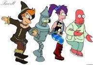 fry bender leela zoidberg as characters from the wizard of oz