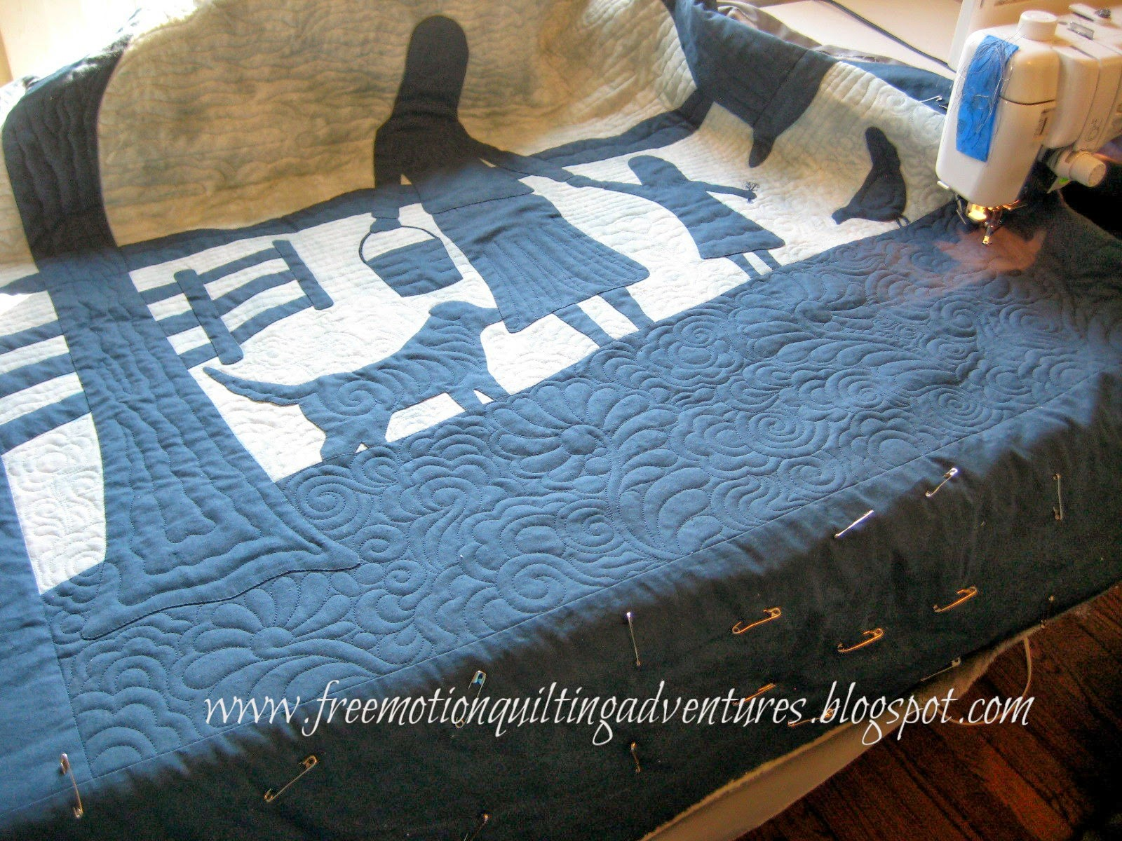 free motion quilting farm scene