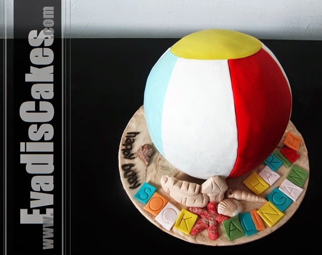 Top view picture of sculpture beach ball cake