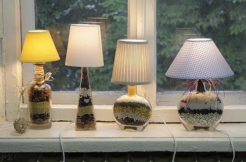 Bonitas lamparas con botellas de vidrio lodijoella - Lamparas de pie artesanales ...