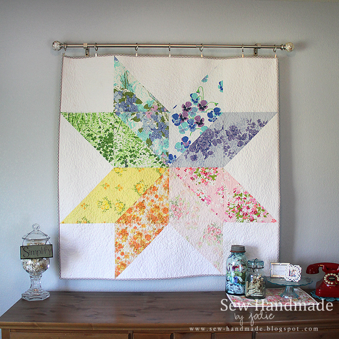 Rainbow Star Quilt Vintage Linens