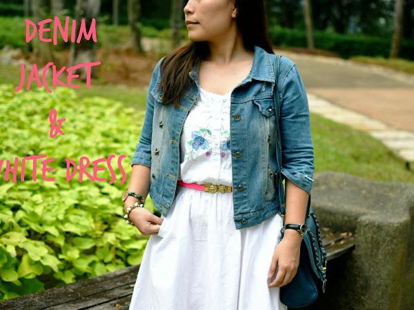 Outfit Diary: Cropped denim jacket + re-fashion white dress | Putrajaya,Malaysia