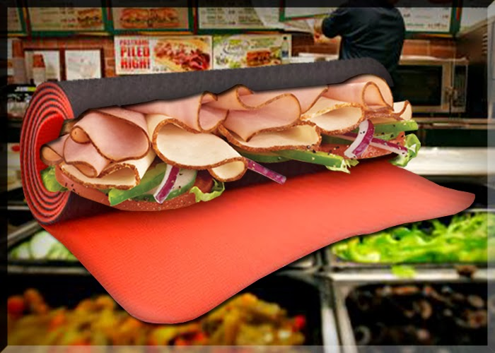 Comic John Powers Jared Fogle Subway Yoga Mat Sandwich