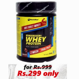 Buy MuscleBlaze Whey Protein 0.8 lb My First Whey for Rs. 299 by HealthKart : Buy To Earn